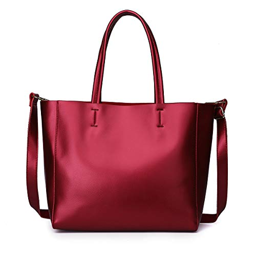 - Zg Women Genuine Leather Top Handle Satchel Daily Work Tote Shoulder Bag Large Capacity