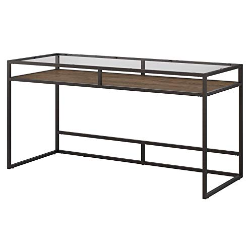 Bush Furniture Anthropology 60W Glass Top Writing Desk with Shelf in Rustic Brown
