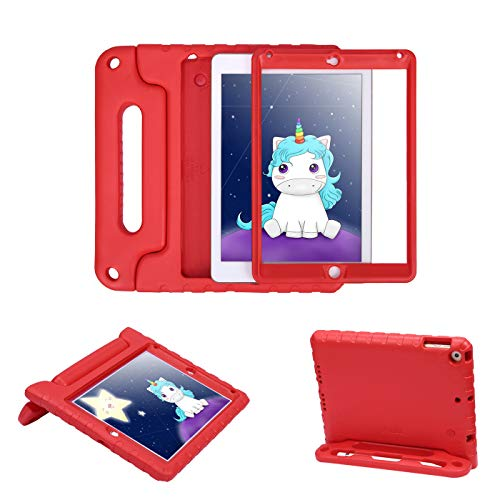 HDE Case for iPad 9.7-inch 2018 / 2017 Kids Shockproof Bumper Hard Cover Handle Stand with Built in Screen Protector for New Apple Education iPad 9.7 Inch (6th Gen) / 5th Generation iPad 9.7 - Red