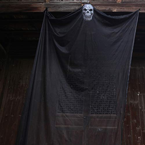 Halloween Hanging Ghost, Scary Ghost Decoration Halloween Decor for Yard Outdoor Party Indoor Bar - Black]()