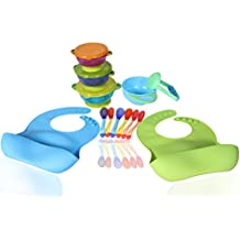 Best Value Complete Baby, Infant & Toddler Feeding Set That Includes Everything You Need: 2 Food Catcher Bibs + 3 Different Size Suction Bowls + Food Masher + Food Masher Bowl + 6 Spoons - BPA Free