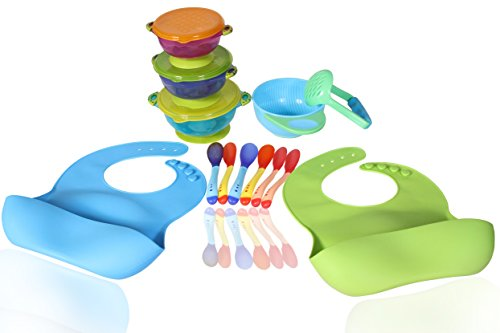 Price comparison product image Best Value Complete Baby,  Infant & Toddler Feeding Set That Includes Everything You Need: 2 Food Catcher Bibs + 3 Different Size Suction Bowls + Food Masher + Food Masher Bowl + 6 Spoons - BPA Free