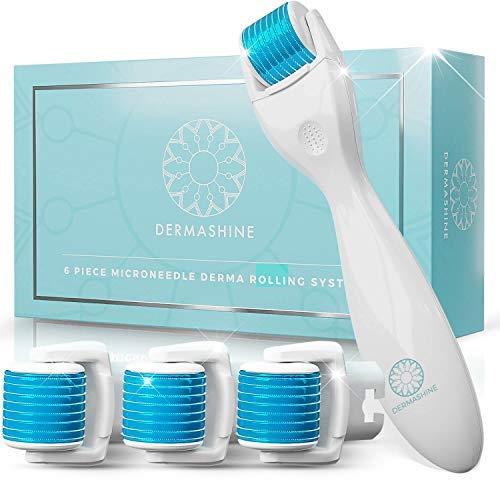 DermaShine Derma Roller 6 Piece Kit for Face & Body | Microdermabrasion for Acne Scars, Stretch Marks & Collagen Boost | .25mm Micro Needling Skin Care Set | 4 Replacement Heads, 600 Titanium Needles