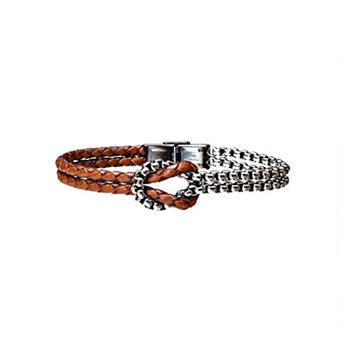 bfbb7a319a40 marlù joyas color pulsera para hombre de cuero trenzado marrón y acero nudo  marinero Mejor