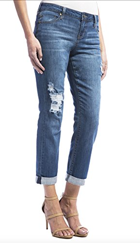 Blue Montauk Apparel (Liverpool Jeans Company Women's Peyton Slim Boyfriend in Super Comfort Vintage Stretch Denim Jean, Montauk Mid Blue/with Destruction 6)