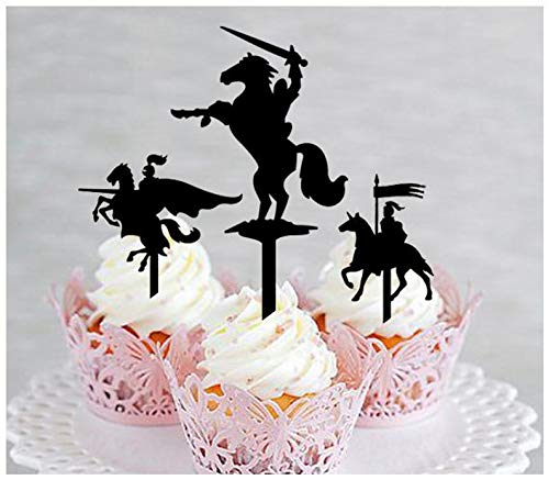 Decoration,Cupcake topper,Anniversary,Wedding,Birthday,Party, Knight on Horse silhouette