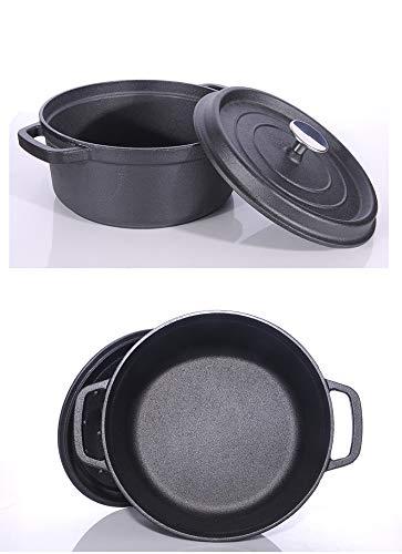GJJ Cast Iron Pot Cast Iron Cooker, Soup Pot Deepened Uncoated 24Cm,Black,24Cm by GJJ (Image #5)