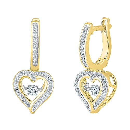 10kt Yellow Gold Womens Round Diamond Heart Dangle Hoop Earrings 1/4 - Diamond Hoop Dangle