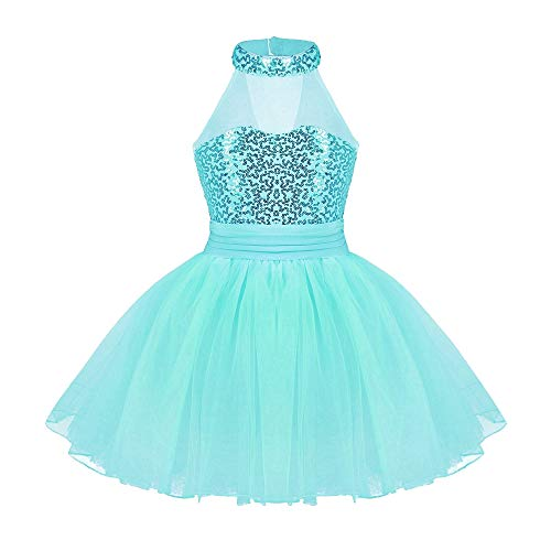 - TiaoBug Girls Sequined Camisole Ballet Dance Tutu Dress Sweetheart Leotard (7-8, Lake Blue(Mock Neck))