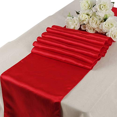 mds Pack of 10 Wedding 12 x 108 inch Satin Table Runner for Wedding Banquet Decoration- Red -