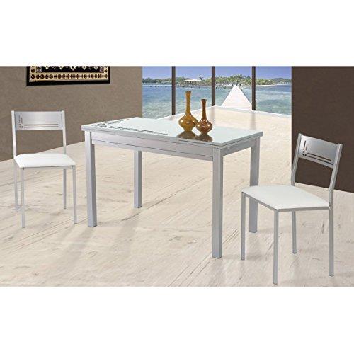 SHIITO Mesa de Cocina Extensible de 110x70 cm con cubertero ...
