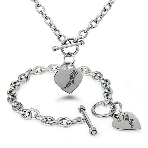 Stainless Steel Hermes Greek Messenger Of Gods Symbols Heart Charm