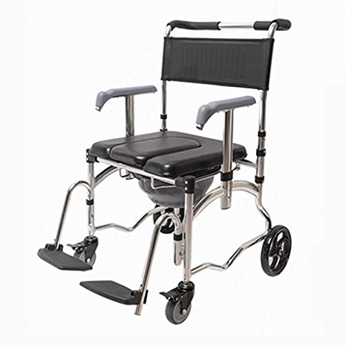 - OHHG Commode Chair with Wheels - Bedside Shower Transport Chair Waterproof Aluminum Portable Foldable Bath Toilet Chair