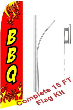 NEOPlex -BBQ Complete Flag Kit - Includes 12 Swooper Feather Business Flag with 15-Foot Anodized Aluminum Flagpole and Ground Spike