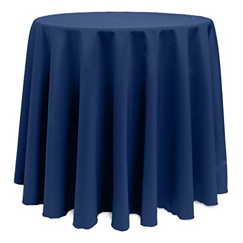 - Ultimate Textile -10 Pack- 120-Inch Round Polyester Linen Tablecloth, Navy Blue