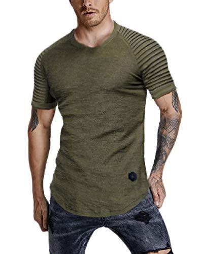 (Nicetage Mens Solid Color Long Length Curved Hem T-Shirt Short Sleeve Shirt (HS80-151 ArmyGreen M))