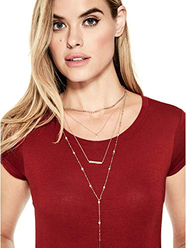 Link Necklace 16 Toggle (GUESS Factory Women's Gold-Tone Multi-Layered Pave Necklace)