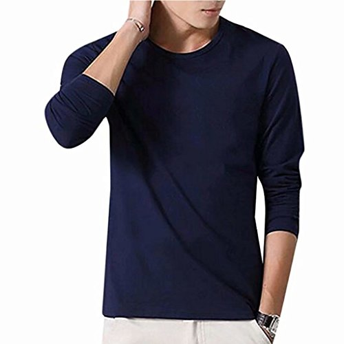 Tsyllyp Mens Casual Solid Crew Neck Comfortable Soft Cotton T-Shirt Long Sleeve (Tv Lnb)