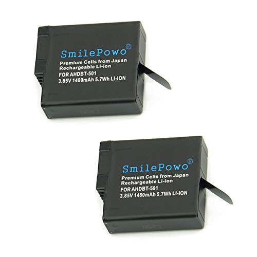 SmilePowo 2 Pack Rechargeable Battery 1480MAH for Gopro HERO 6,HERO6 Black,HERO 5, HERO5 Black,HERO (2018),GoPro AHDBT-501,AABAT-001 Battery (Fully compatible with original camera) by SmilePowo