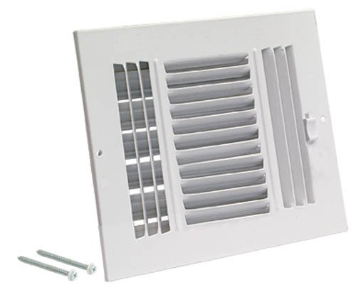 EZ-FLO 61658 Three-Way Steel Ventilation Steel Sidewall or Ceiling Air Register, 8'' x 4'', White