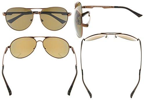 4a6eb0ee4814df Eyekepper Lunettes de soleil Metal monture verres en Polycarbonate verres  Polarisees lunettes soleil style aviateur marron ...