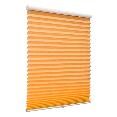 Cordless Single Cell Window Shades, Custom Made Any Size from 20-78inch Wide Light Filtering UV Protection Orange Window Blinds, 52″ W x 84″ L