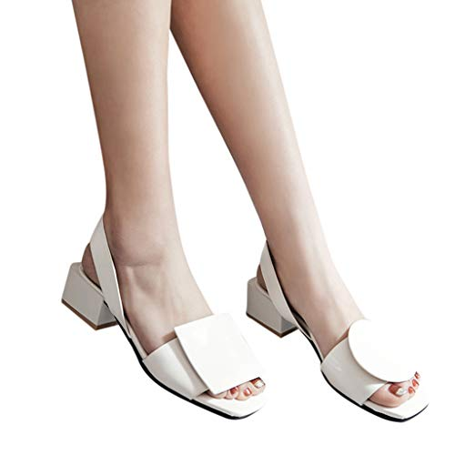 a62eec4b6d210 Gyouanime Ladies High Heels Flat Platform Slip-On Sandals Casual Roman  Sandals Wedding Party Dress Shoes White