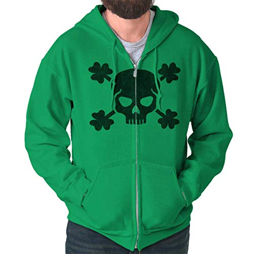 Brisco Brands Cool Shamrock Skull Graphic St Patricks Day Zip Hoodie Irish Green