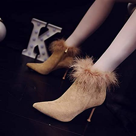 GTVERNH Womens Shoes//Autumn Boots Women Fashion Pointed Shoes Thin Heels Short Boots 8Cm High Heels Fashion Boots Cat Heels