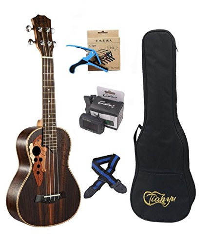 23-inch Hawaii ukulele rosewood professional concert Ukulele send tuner trim folder thick piano bag by Unknown