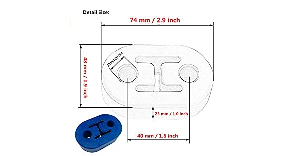 I33T 4 Holes Exhaust Mount Insulator Grommet Rubber Universal Muffler Hanger Bushing 0.47 Inch Hole Size Pack of 2 Pieces