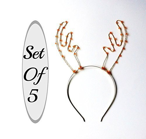 Set Of 5 Antler Headbands, Party Pack Of Five Deer Ears, Silver And Orange Beaded Rudolf Hair Bands, Deer Antlers For Christmas Parties, Photo Booths & More by Scarlet Tiaras