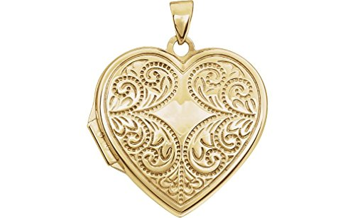 14k Yellow Gold Motiff Design Heart Locket with Design on Back of Locket by The Men's Jewelry Store (for HER)