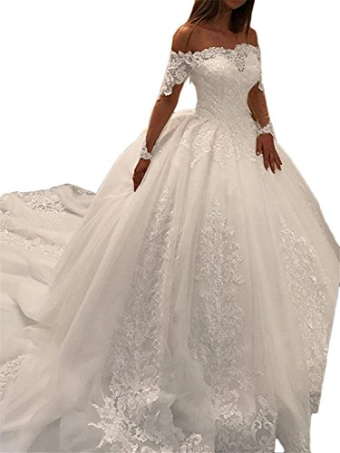 Youyougu Women's Ball Gown Long Sleeve Lace Bridal Gown Beaded Appliques Wedding Dress Ivory Size 6