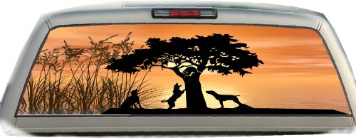 Coon Hunting- 17 Inches-by-56 Inches Compact Pickup Truck- Rear Window Graphics Coon Hunting Decals