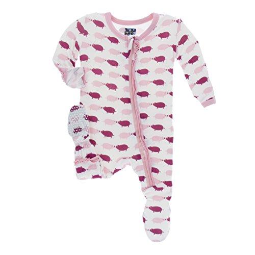 Kickee Pants Little Girls Print Muffin Ruffle Footie (Zipper) - Natural Pig, 4T