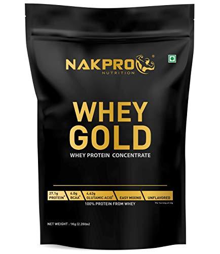 NAKPRO GOLD 100% Whey Protein Concentrate 1 kg Unflavour, 27.1g Protein, 6g BCAA & 4.6g Glutamine, Whey Protein…
