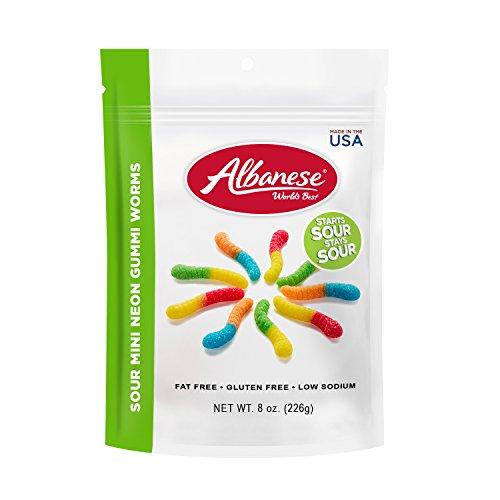 - Albanese World's Best Sour Mini Neon Gummi Worms, 8 oz