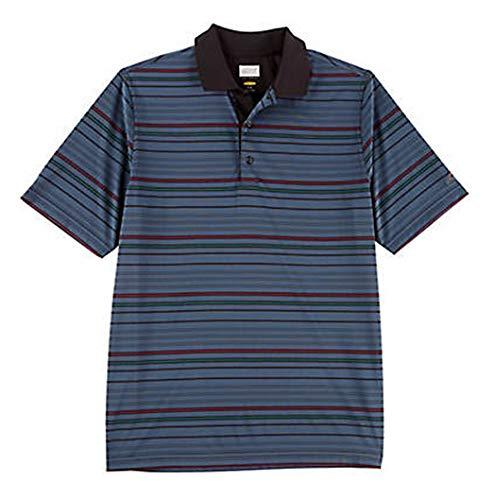 Greg Norman Collection Men's Multi Stripe Polo Shirt (Black Multi, Large)