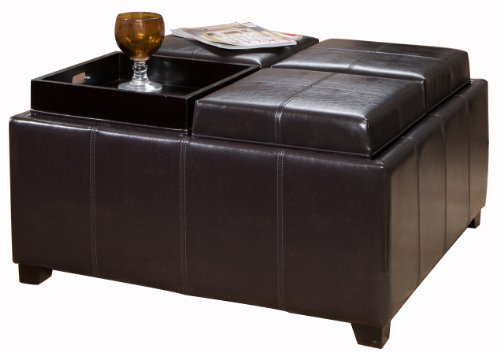 Leather Top Coffee Table - Best Selling Four Sectioned Espresso Leather Cube Storage Ottoman