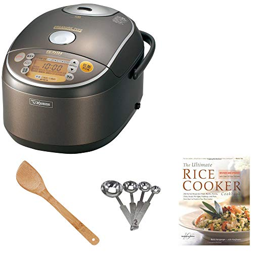 Heating Pressure Rice Cooker & Warmer 1.8 Liter, Stainless Brown NP-NVC18 Includes Cookbook, Measuring Spoons and Wooden Spatula ()