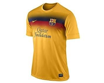 sports shoes cc546 9e682 Nike FC Barcelona Prematch Top II Men's T-Shirt Yellow ...