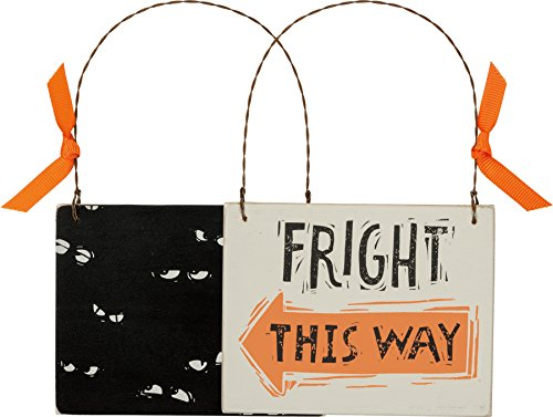 Primitives by Kathy Fright This Way Halloween Ornament 4.5 x 3.5 inches with Hanger -