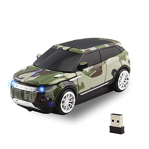 CHUYI 2.4GHz Wireless Mouse Cool Sport SUV Car Shape Optical Mouse 1600DPI SUV Gaming Mice with USB Receiver for PC Computer Laptop (Camouflage Green)