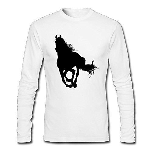 D8v5 Shirts Horse Colortone Watercolor Mens Warm Tops Crew Neck Long Sleeves - Colortone Angeles Los