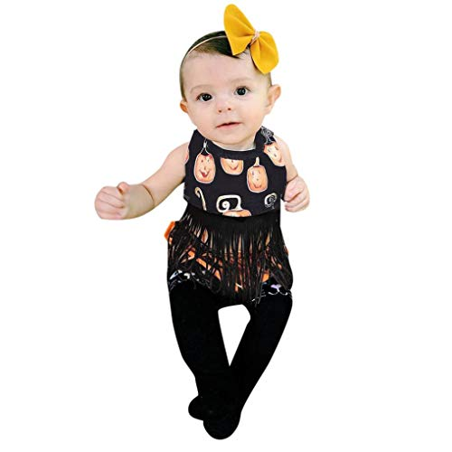 Halloween Costumes, Baby Girls Pumpkin Print Tassel Romper Tops+Shorts Outfits Set (0-6 Months, Black) -
