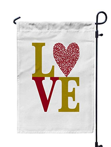 Shorping Decorative Outdoor Garden Flag, 12x18Inch Happy Valentines Day Card with Text Love and red Heart Font Type Text LO for Holiday and Seasonal Double-Sided Printing Yards Flags