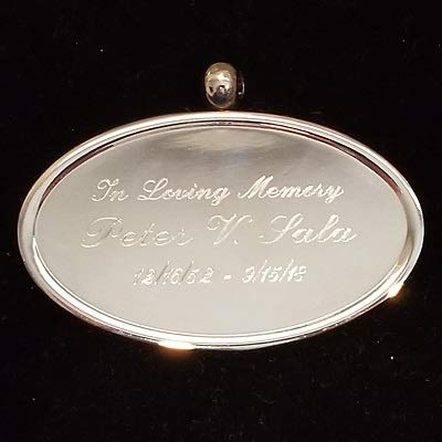 Hanging Name Plaque - Liliane Memorials Oval Engravable Pendant - Hanging Plate Medallion Plaque for urns That can't be Engraved - Includes Smooth Satin Ribbon - Made in Brass - Silver Medallion with Engraving Included