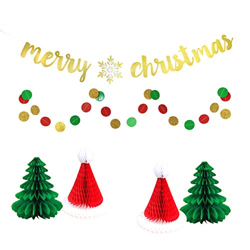 Merry Christmas Party Home Decoration Props - Merry Christams Snowflake Banner, Circle Dot Paper Bunting, Christmas Honeycomb Hat & Honeycomb Trees]()