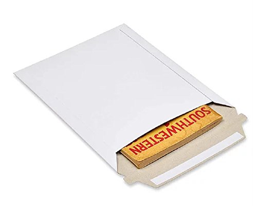 Rigid Paperboard Mailers 12.5 x 9.5 Chipboard mailers 12 1/2 x 9 1/2 by Amiff. Pack of 25 white photo envelopes. Stay Flat mailers. No bend, Self sealing. Documents and Photo. Mailing, shipping. Case Mailer Rigid Paperboard Dvd